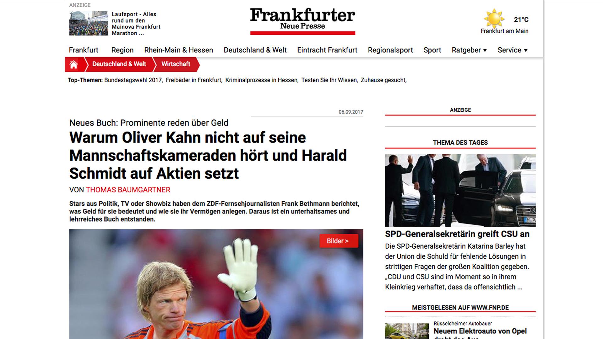 """Frankfurter Neue Presse rezensiert """"Über Geld reden"""""""