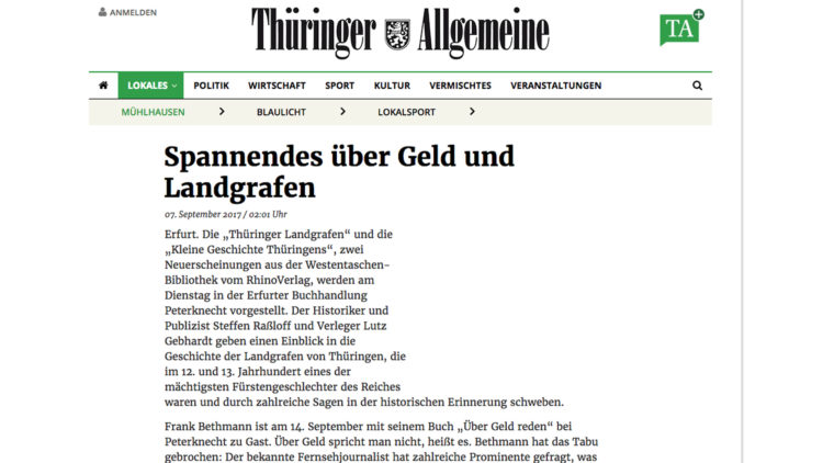 Thüringer Allgemeine kündigt Bethmann an